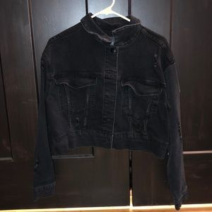 cropped black jean jacket